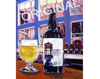 Trillium Brewing Beer Painting, Boston Beer Art, Fort Point Pale Ale, Craft Beer Gift for Brother, Man Cave Beer Poster, Bar Alcohol Art
