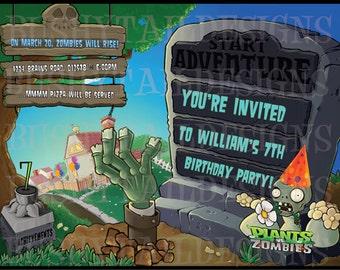 Plants vs Zombies Birthday Invitations