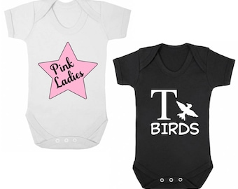 PINK LADIES / T BIRDS - Twin Baby Bodysuits/Grows Vests/Onesies Rompers/All-In-Ones, Newborn Gift, Shower, Christening Present, Grease