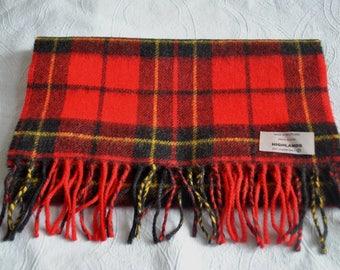 Vintage wool blend red / black  plaid tartan long scarf