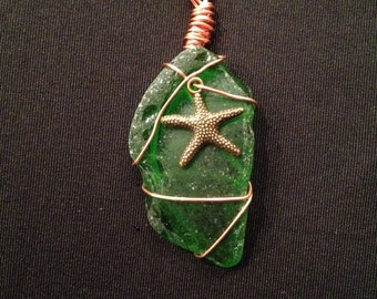 Wire Wrapped Beach Glass Pendant with Sea Star Charm