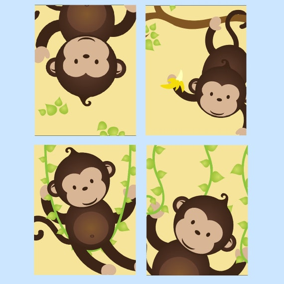 Monkey Nursery Art // Monkey Decor for Kids // Monkey Wall Art