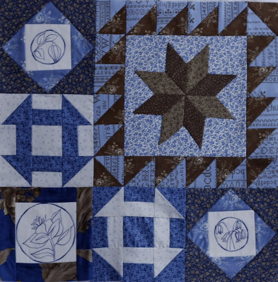 Blueberry Botanical Quilt Block of the Month Block 3