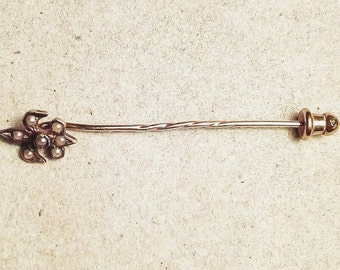 14k gold Fleur de Lis seed pearl stickpin / solid 585 yellow gold pin / June birthstone sweater pin, tie pin, lapel pin, hat pin, hair pin