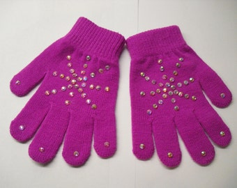 New! Beautiful Hand-Stoned Gloves 1 pair ( Sparkly Magenta)
