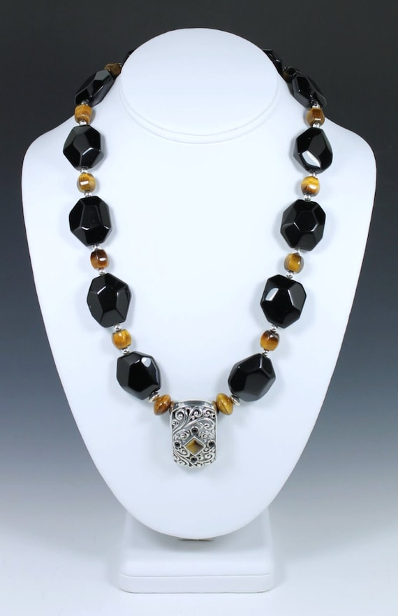 Black Onyx and Raku Bead Necklace, Onyx Necklace