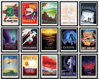 NASA Posters Full Set, nasa print,  nasa wall art, Space Posters, Space Art, Nasa Art, Nasa Space Poster, nasa prints, nasa travel posters