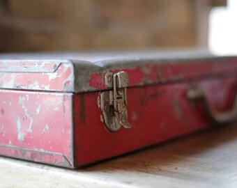 toolbox - vintage red metal toolbox