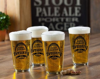 Personalized Pint Beer Glass Set   Set of Four Pub Glasses   Choose Your Design and Ink Color   Gifts for Guys   Custom Bar Glasses