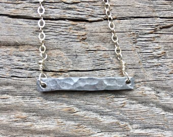 Textured Bar Necklace, Silver Minimalist Necklace, Dainty Silver Necklace, Simple Silver Necklace, Gift for Her, Easter gift, Easter