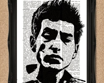 Dictionary Bob Dylan Print Vintage Dictionary Page Black and White Lyricist Portrait A123