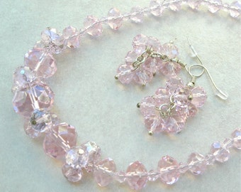 SALE - 50% off, Pretty Pink Crystal Starburst Necklace & Earring Set, by SandraDesigns