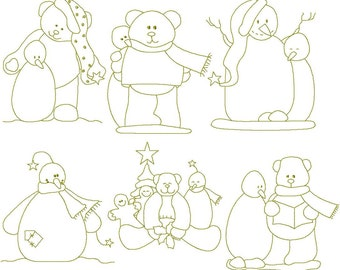 Instant Digital Download Teddy Bears and Snomen 4X4 Machine linework Embroidery Designs