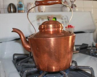 Copper Kettle, Tea Pot, Rustic Copper Tea Kettle, French Country, Farmhouse Decor, Vintage Kitchen Cottage Chic French Wood Handle