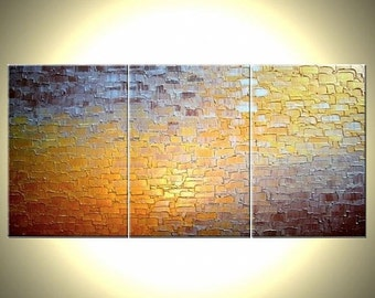 Original Abstract Painting, Original Painting By Dan Lafferty - Gold Metallic, Palette Knife Abstract Bronze Modern Textured Art - 36 x 72