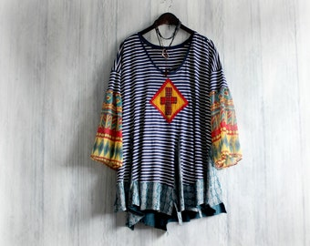 Plus Size Tunic Top Southwestern Tribal Long Length Women's Boho Shirt Lagenlook Clothes Ladies Bohemian Top Upcycled Clothing 2X 3X 'JOSIE'