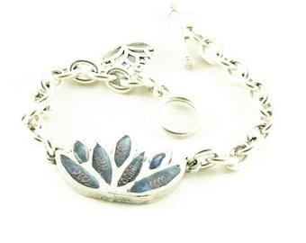 Orgone Energy Lotus Flower Charm Bracelet - Chunky silver bracelet - Om Charm - Choose Your Stone/Color - Artisan Jewelry - Orgone Jewelry
