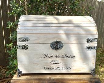 "18"" Ex-Large Wedding Card Box - Card Box With Slot - Time Capsule - Wedding Chest - Whitewash Card Box - Hope Chest - Program Box"