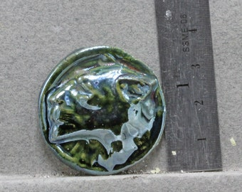 Handmade Raku  Green Cabochon Lion Reduction Glazed   Cabochon