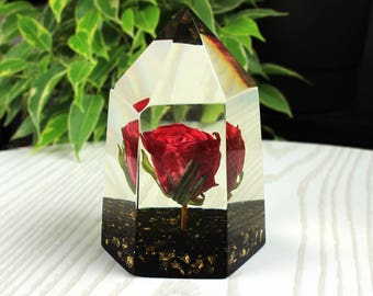 Real Red Rose Paperweight, Forever Flowers, Paperweight Flower, Preserved Rose Paperweight, Paperweight, Resin Paperweight, Dried Red Rose