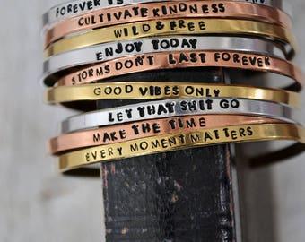 Personalized Stacking Bracelet - Hand Stamped Cuff Bracelet - Custom Mantra Bracelet - Inspirational Bracelet - Bible Verse - Custom Saying