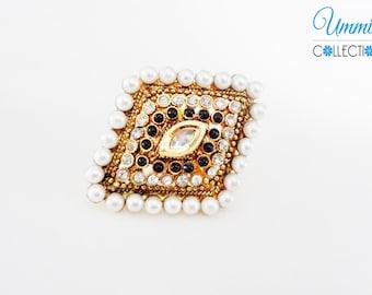 Golden Black Polki Finger Ring Jewelry