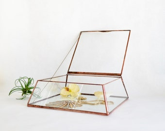 Glass Jewelry Box Wedding Card Box Display Box Clear Glass Jewelry Box Truncated Pyramid Box by jacquiesummer