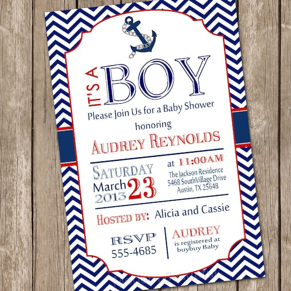 Chevron nautical baby shower invitation red blue anchor filmwisefo Images