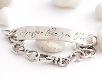 Sterling Silver Strength Inspiration ID Bracelet