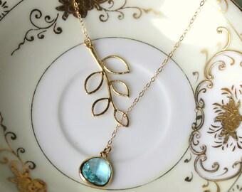 Aquamarine Lariat Necklace Aqua Blue Lariat Leaf Gold Necklace - Bridal Necklace - Bridesmaid Lariat Necklace - Bridesmaid Jewelry Wedding