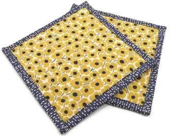 Yellow Floral Quilted Pot Holders, Hot Pads, Insulated Potholders - Yellow, Blue, and Ivory Flower Pot Holders - Set of 2 - 8 Inch Square