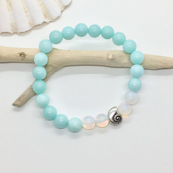 beach jewelry, shell bracelet, bohemian jewelry, gift for her, mermaid bracelet, jade bracelet, beachcomber jewelry
