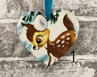 Disney Bambi Hanging Wooden Heart Plaque Nursery Bedroom Decor Birthday Wedding Baby Shower Favours