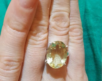 Sterling Silver 925 Ring Natural Lemon Quartz Size 9