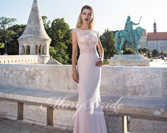 Illusion Trumpet Lace and Silk Chiffon Evening Gown