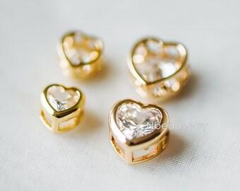 10pcs Zircon Rhinestone Heart Beads 7/ 9mm, Real Gold plated Brass Heart Connectors, Lead Nickel Free  (GB-163)