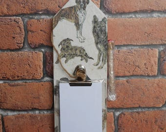 Decoupaged Distressed Wood Notepad Holder with Pencil - Dogs Design