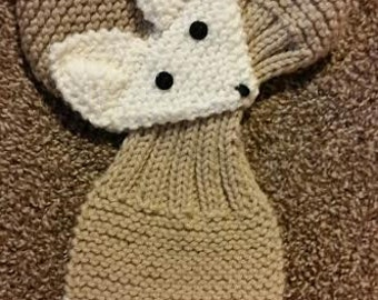 Adjustable Hand Knit Fox Scarf ,Beige/ Cream neck warmer for Kids or Adult
