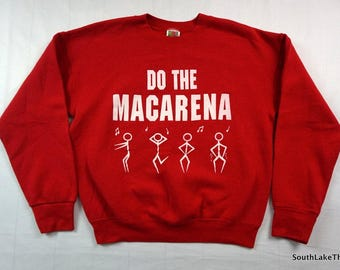 Vintage 90s Do The Macarena Sweatshirt Adult Medium M Red by Fruit of the Loom Vintage Sweatshirt Rare Hey Macarena