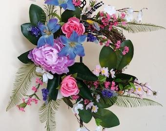 Spring Summer Wreath, Purple lavender Pink wreath, Peonies Roses Door Wreath