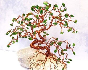 Bonsai Gem Tree, Wire Tree Sculpture, Chrome Diopside, Gemstone Trees, Tree of Life Art, Wire Bonsai