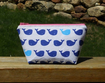 Extra Small Makeup Bag, Blue Whales on White, Blue Whale Makeup Bag, Whale Bag, Whale Cosmetic Bag