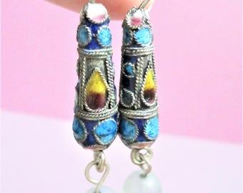 Long Champleve Beaded Earrings Cloisonne Earrings Vintage Pierced Aqua Blue Enamel Gold Valentine Jewelry Ear Wires Cloisonne Earrings