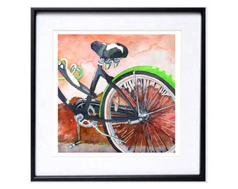 Green, Bicycle, Illustration, Bicycle art print, Bicycle, landscape, artwork, Watercolor print, Bikes, of ,San Francisco, Trendy Wall Art N