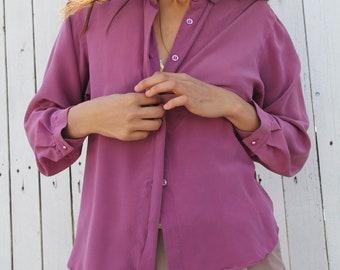 vintage silk eggplant purple button up button down silk blouse secretary shirt xs petite