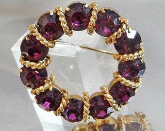 BIG SALE Vintage Purple Circle Brooch. Gold Tone. Amethyst Purple Rhinestones.