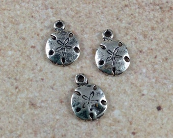 Sand Dollar Charms, sterling silver, 10 x 7 mm, 3 charms