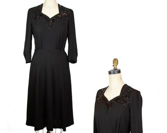 1940s Dress ~ Black Rayon Sequin Neckline Film Noir Dress