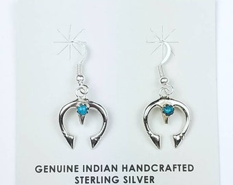 Native American Navajo handmade Sterling Silver Turquoise stone dangle drop earrings