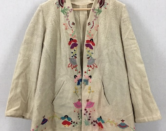 Vintage 50's Mexican Ecuadorian Wool Stitched Souvenir Jacket Fits like a Small